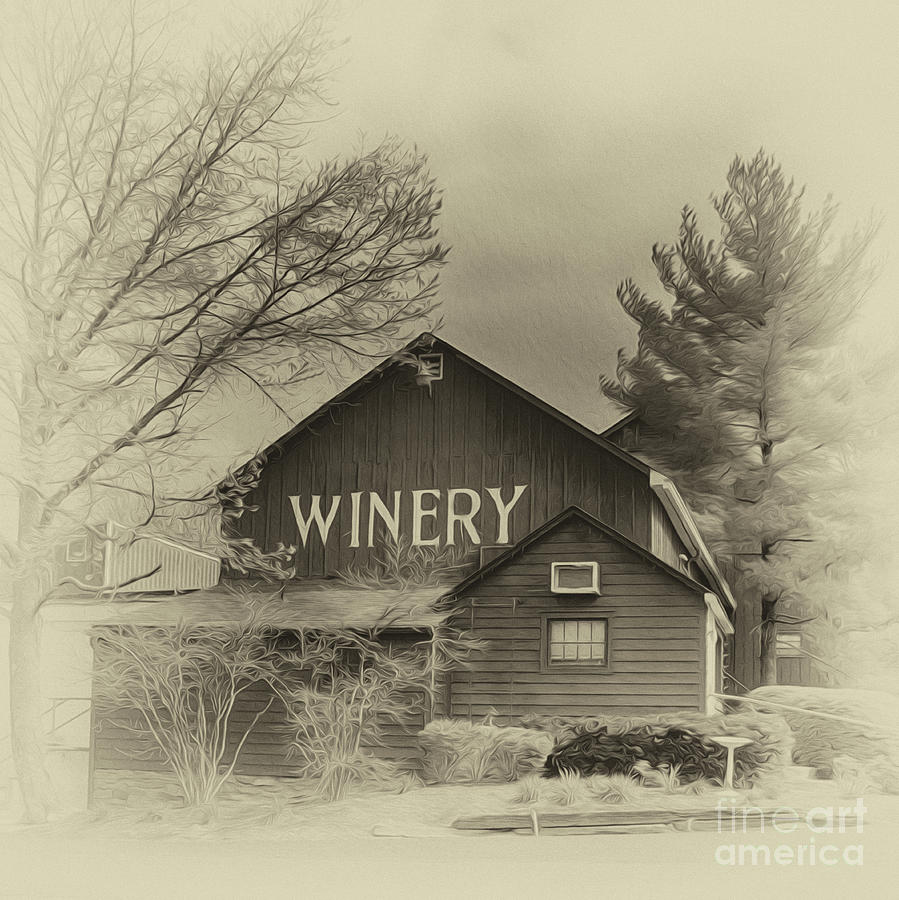 Barn Photograph - Winery In Sepia by Tom Gari Gallery-Three-Photography