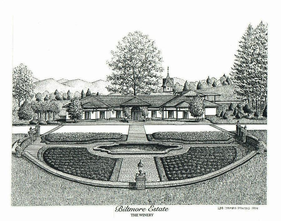 Biltmore Estate Drawing - Winery on Biltmore Estate by Lee Pantas
