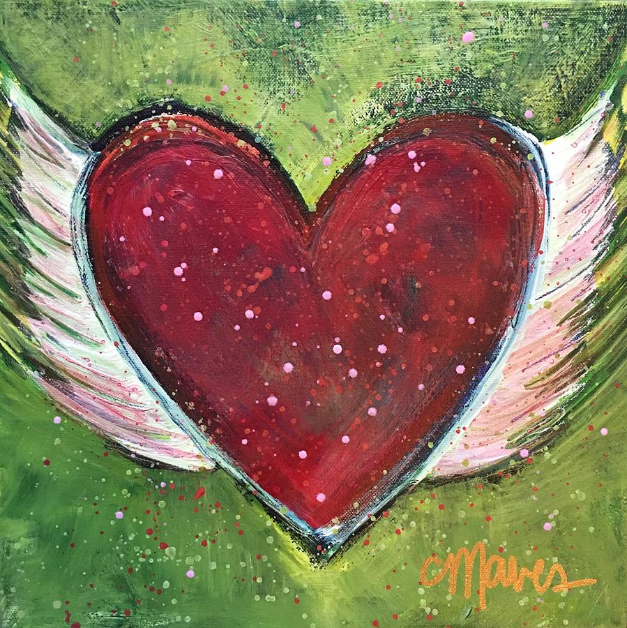 Heart Painting - Winged Heart Number 1 by Laurie Maves ART