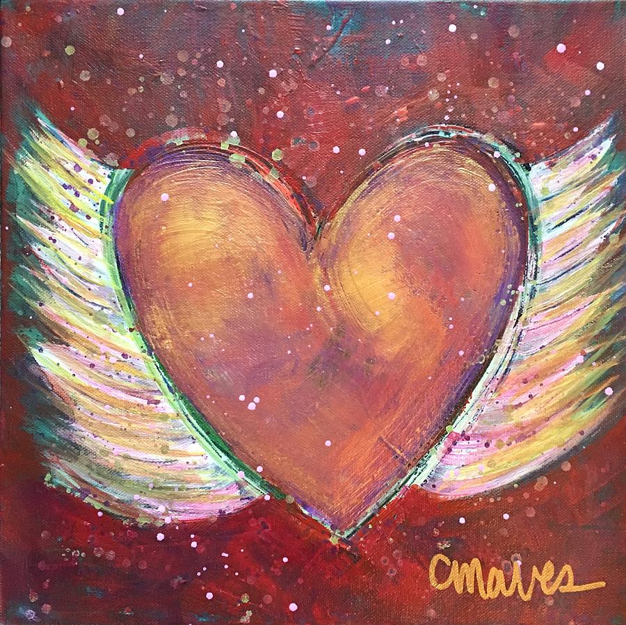 Heart Painting - Winged Heart Number 2 by Laurie Maves ART