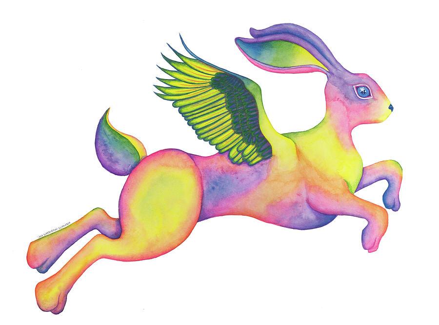 Watercolor Drawing - Winged Pixie Hare by Tara Warburton-Schwaber