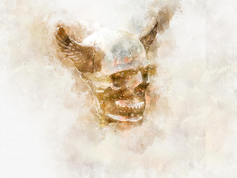 Winged Skull Watercolor by Michael Colgate