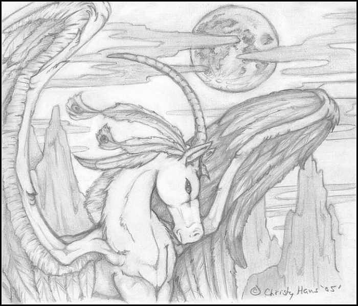 Unicorn Pegasus Drawing - Winged Unicorn by Christina  Hans