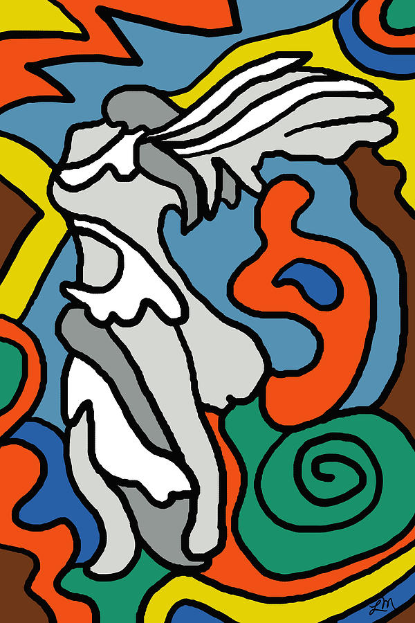 Abstract Digital Art - Winged Victory Imagined by Linda Mears