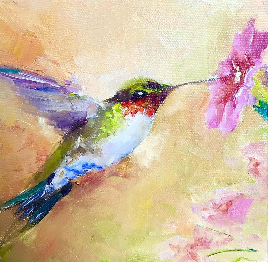 Hummingbird Painting - Small Wonder by Sarah Jane Conklin