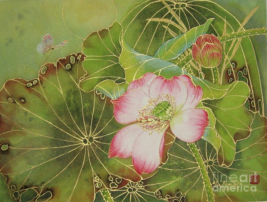 Lotus Painting - Wings Of Gold by Shay Wahl
