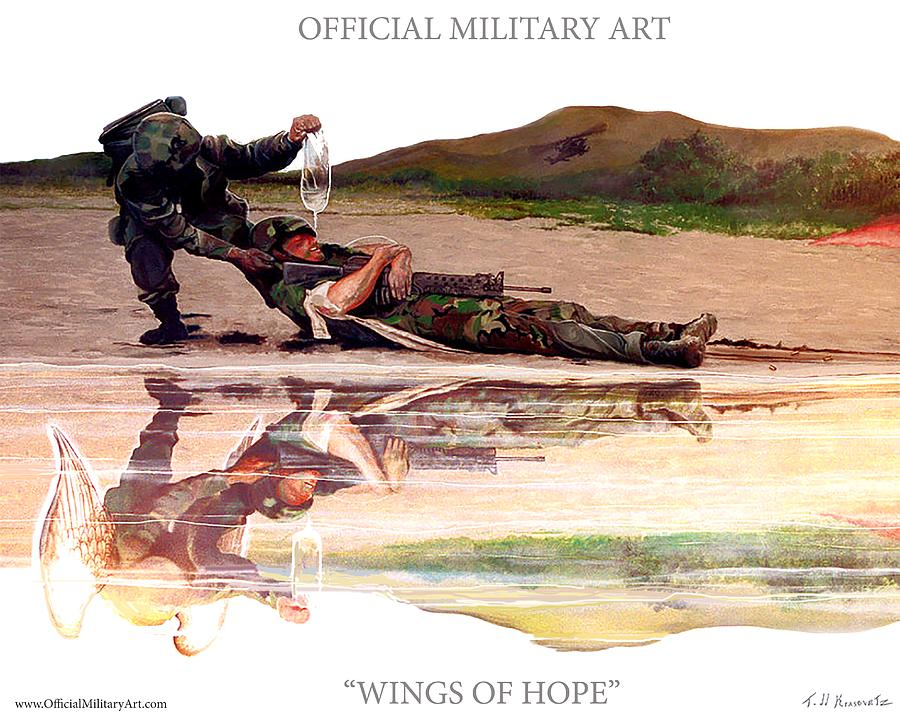 Military T Shirts Painting - Wings Of Hope Design For T Shirts by Todd Krasovetz