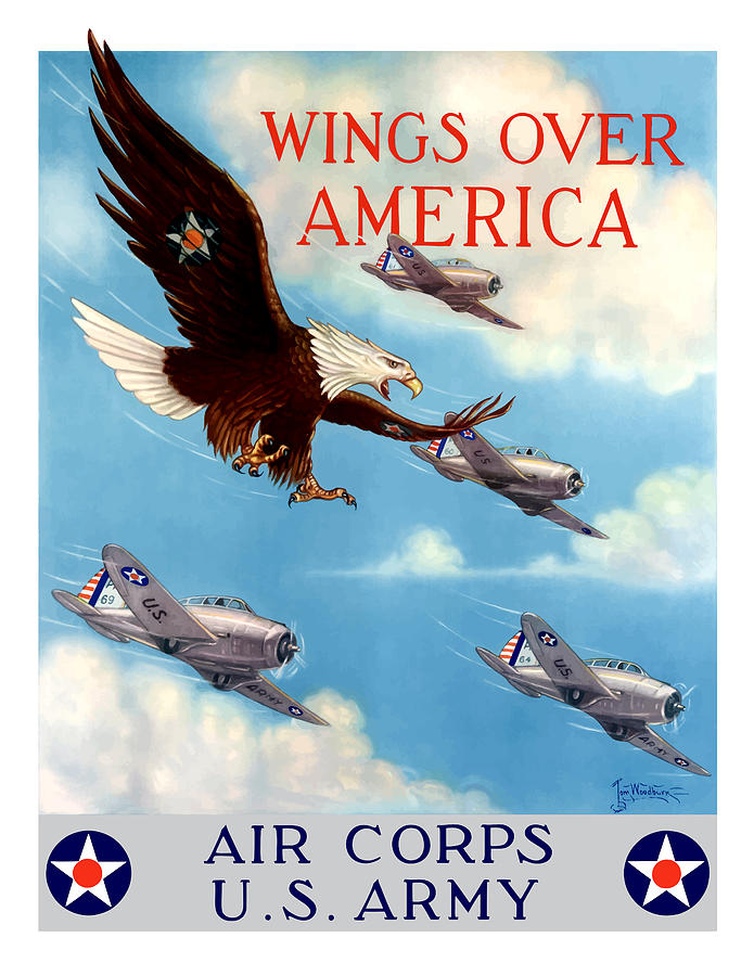Eagle Painting - Wings Over America - Air Corps U.S. Army by War Is Hell Store