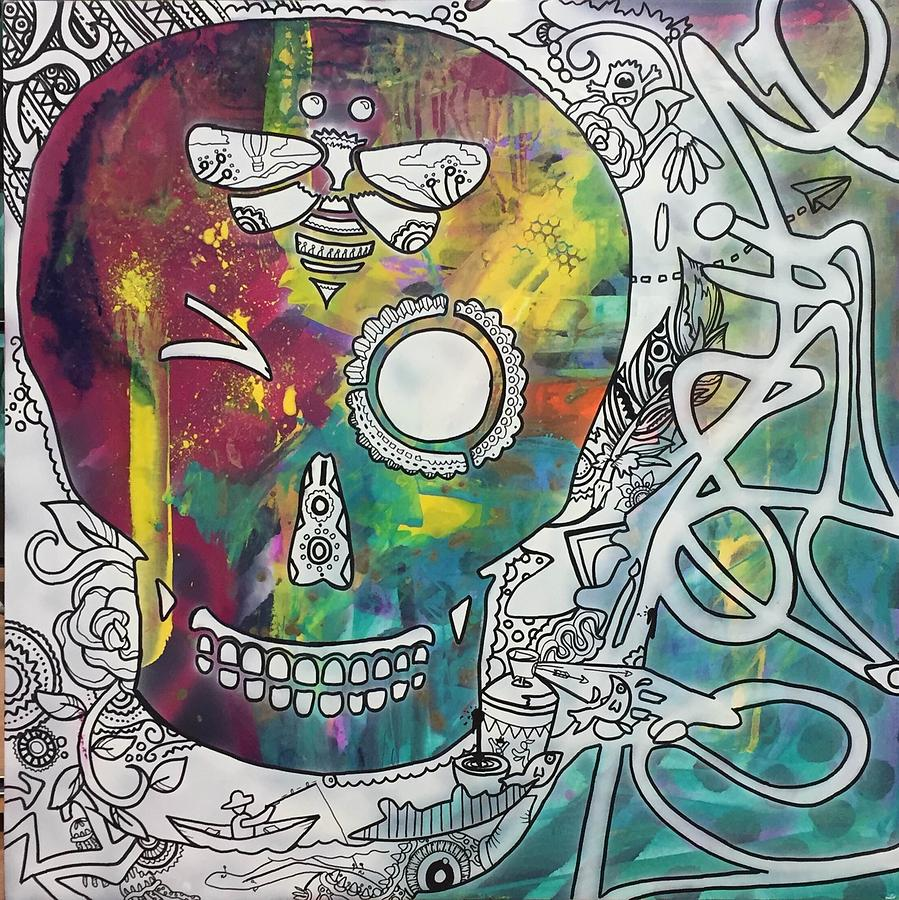 Sugar skull painting winking sugar skull graffiti with honeybee by maria padgett