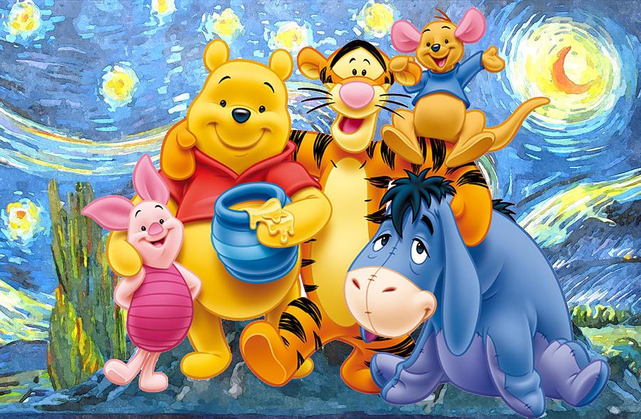 Winnie the Pooh Starry Night  Digital Art by Midex Planet
