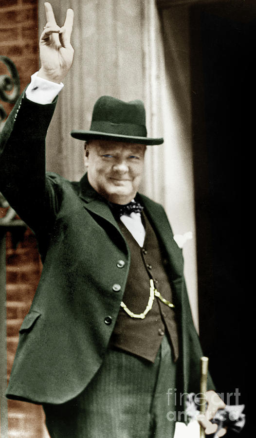 Churchill Photograph - Winston Churchill, English Prime Minister, Making The Victory Gesture In Front Of 10 Downing Street  by English School