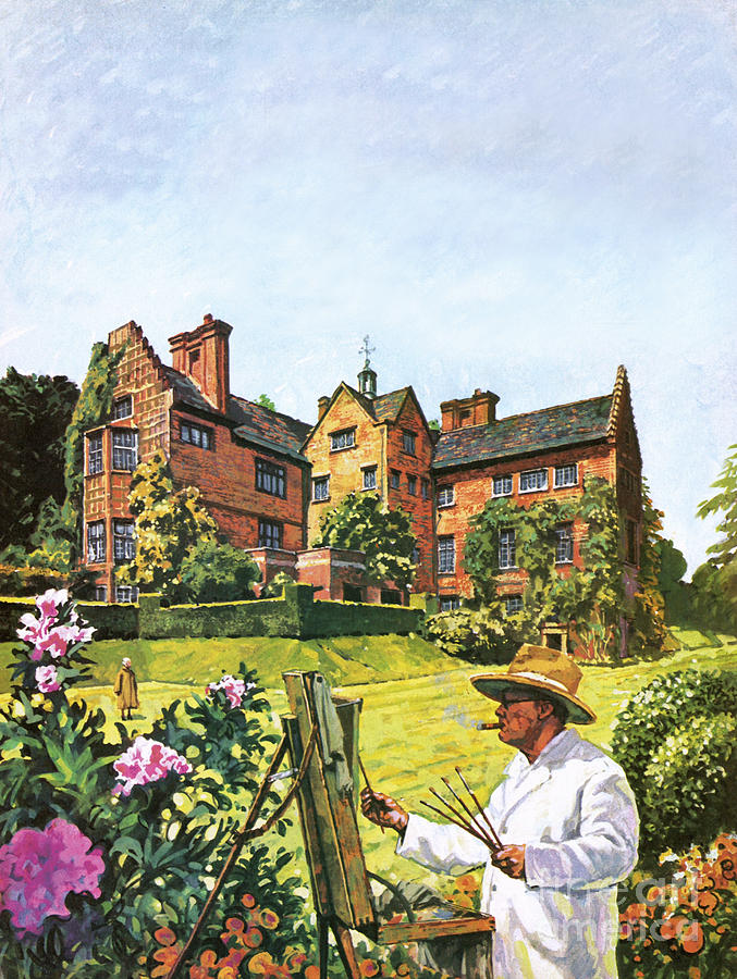 Sir Winston Churchill Painting - Winston Churchill Painting At Chartwell by Harry Green