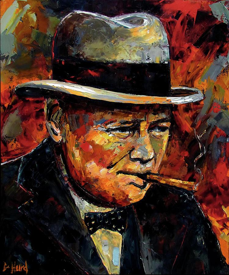 Oil Painting Painting - Winston Churchill Portrait by Debra Hurd