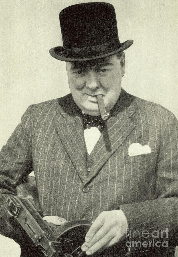a4724334454e1 Churchill Photograph - Winston Churchill With Machine Gun