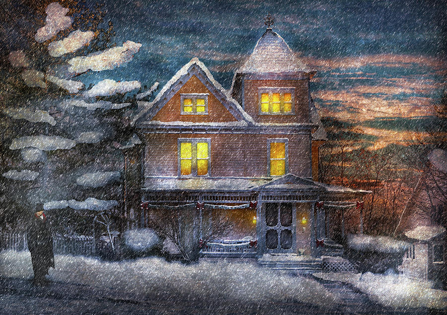 Hdr Photograph - Winter - Clinton Nj - A Victorian Christmas  by Mike Savad