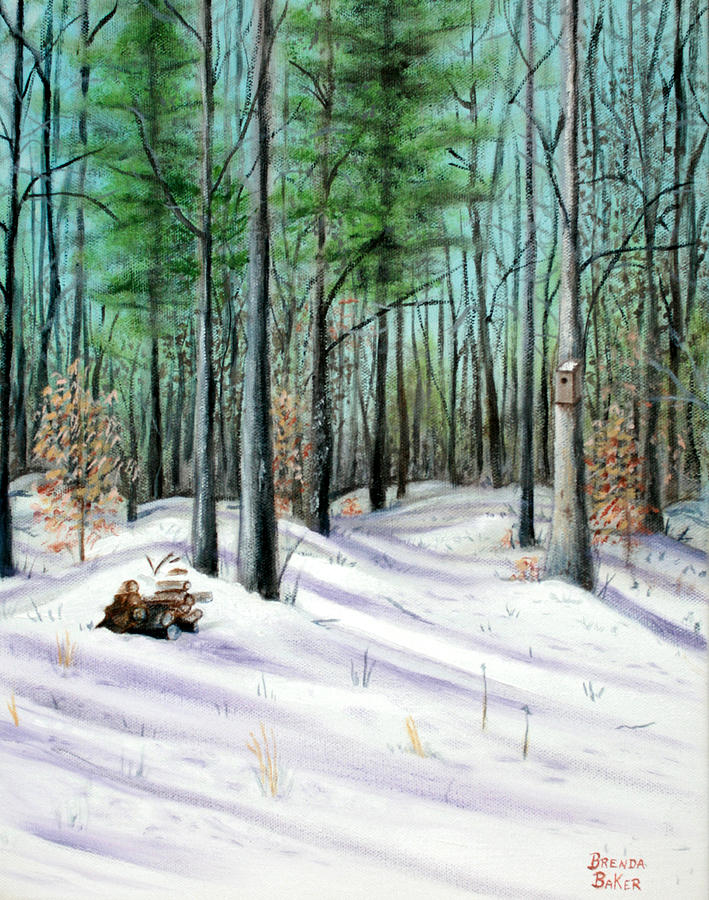 Trees Painting - Winter Afternoon by Brenda Baker