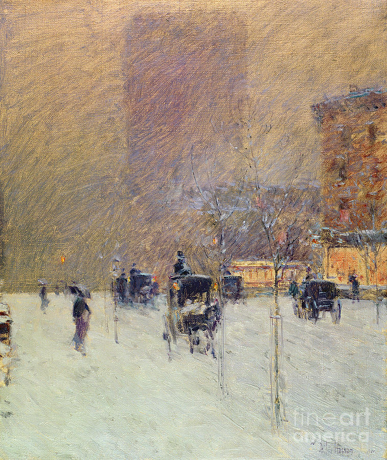 Wintry Painting - Winter Afternoon In New York by Childe Hassam