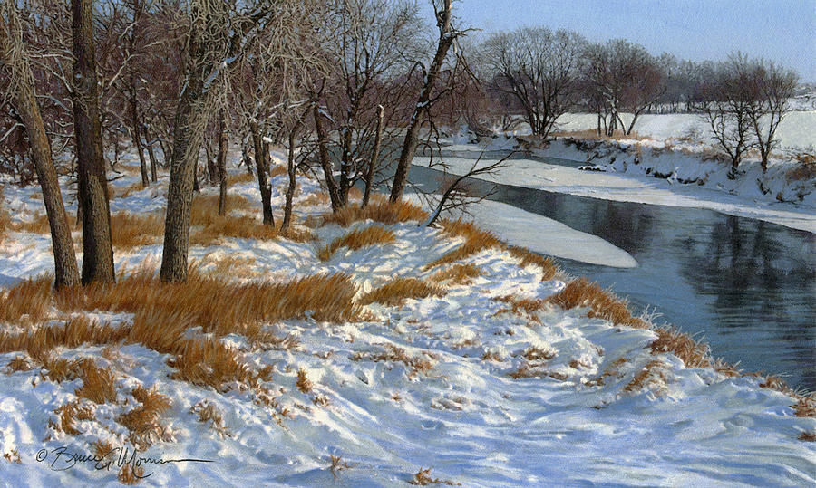 Landscape Drawing - Winter Along The Little Sioux by Bruce Morrison