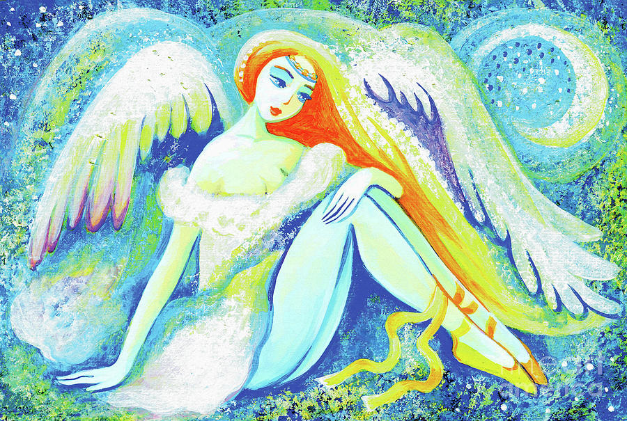 Angel Woman Painting - Winter Angel by Eva Campbell