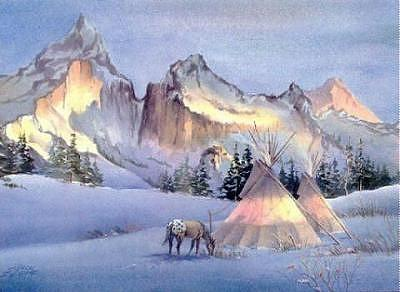 Horse Digital Art - Winter Appaloosa Tipi Camp by Sharon Sharpe