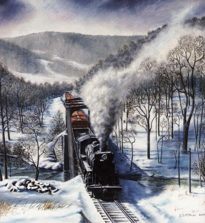Train Painting - Winter at Deer Creek by David Mittner