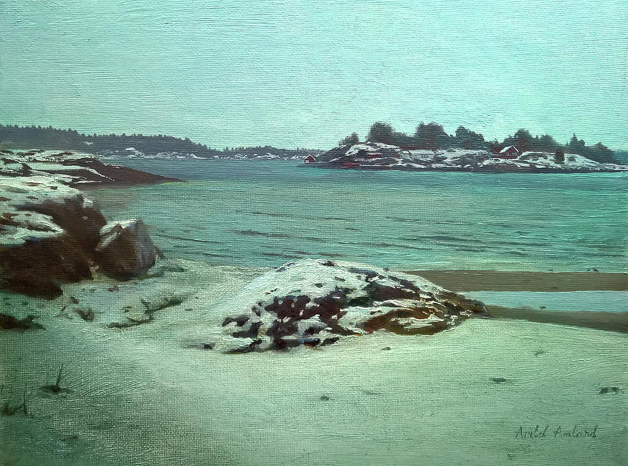 Winter Painting - Winter at Groos by Arild Amland