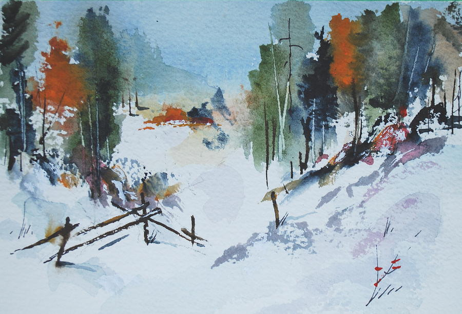 Solitude Painting - Winter At Marble Farm by Wilfred McOstrich