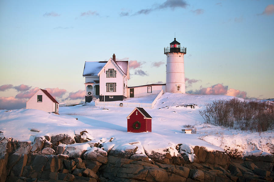 Nubble Photograph - Winter At Nubble by Eric Gendron