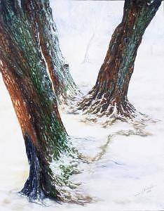 Winter At The Willows Painting by Jeanie Chadwick