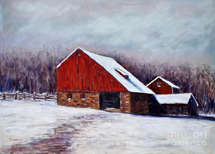 Barns Pastel - Winter Barn Bucks County Pennsylvania by Joyce A Guariglia
