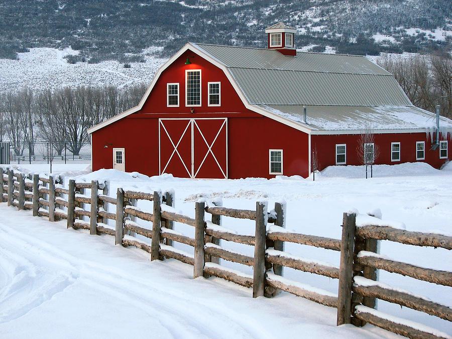 Winter Barn Photograph By David Kocherhans