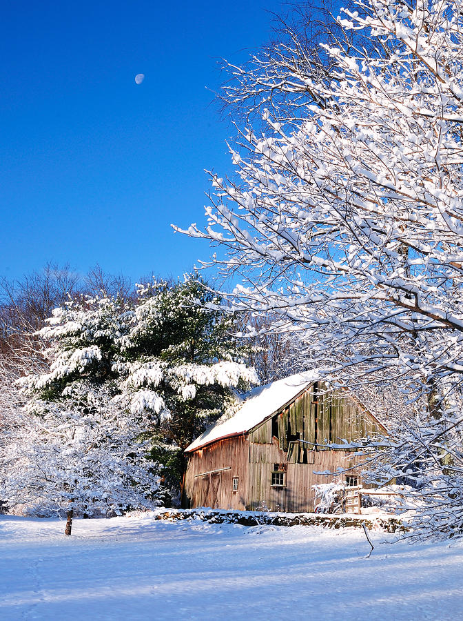 Barn Photograph - Winter Barn Scene-warren Ct by Expressive Landscapes Fine Art Photography by Thom