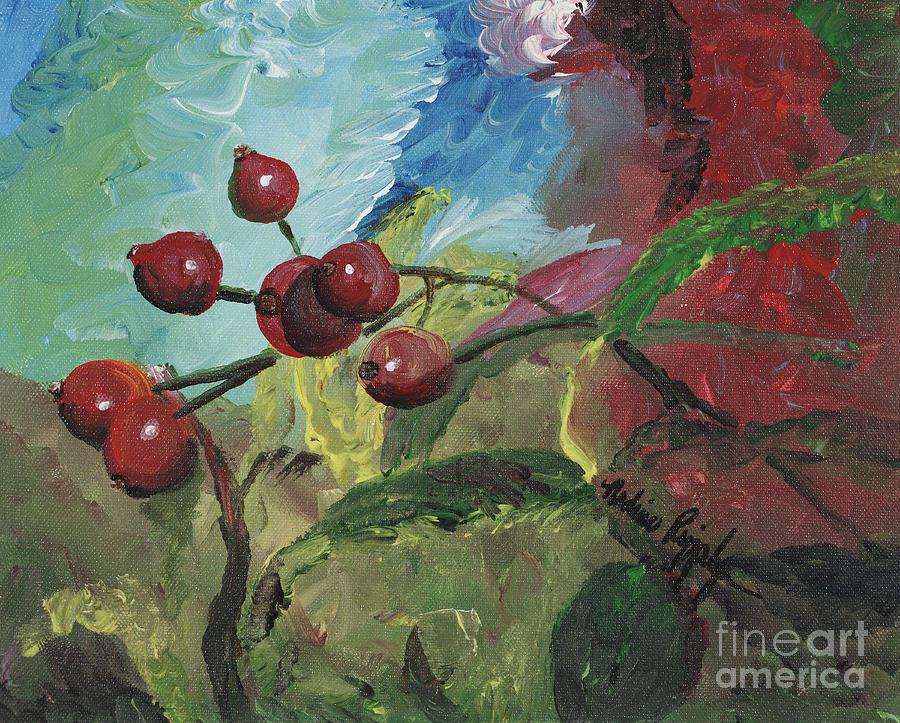 Berries Painting - Winter Berries by Nadine Rippelmeyer