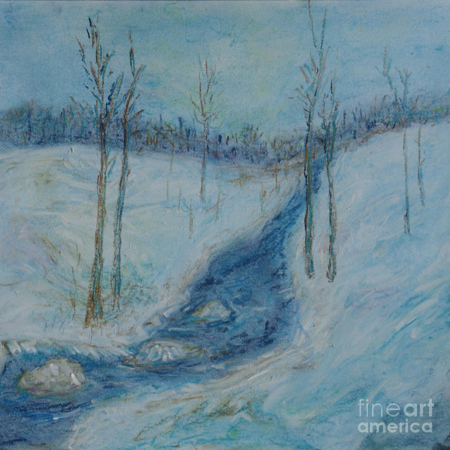 winter blue woods pastel by anita barnard