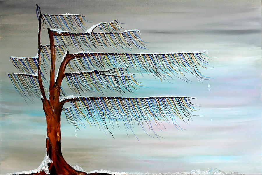 Tree Painting - Winter Blues by Andrea Youngman