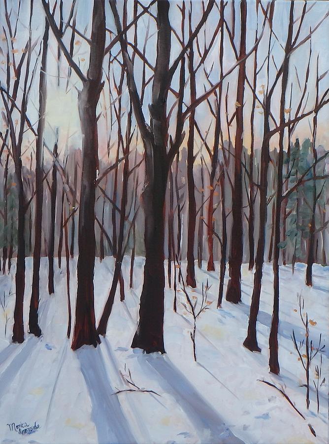 Winter Scene Painting - Winter Blues by Monica Ironside
