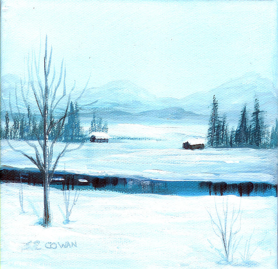 Winter Painting - Winter Blues by SueEllen Cowan