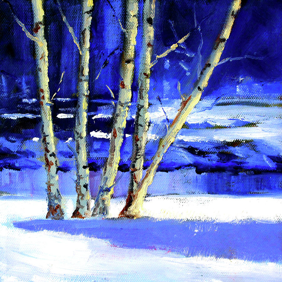 Winter Painting - Winter By The River by Nancy Merkle