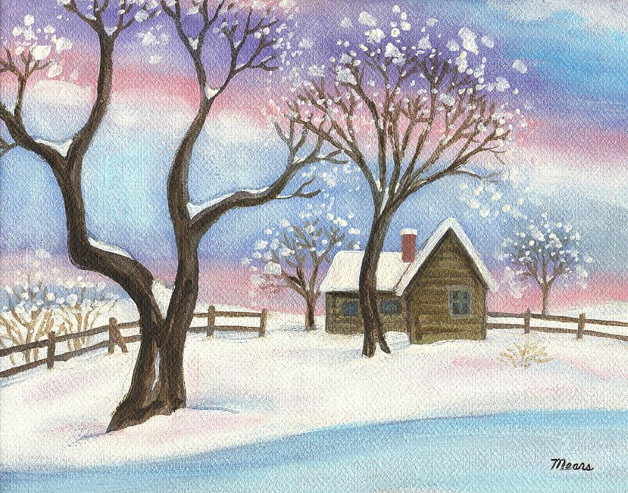 Winter Cabin Landscape Painting By Linda Mears