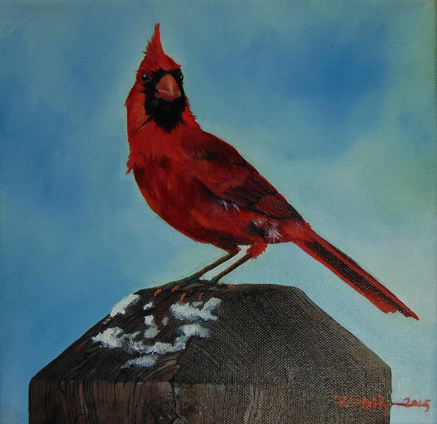 Birds Painting - Winter Cardinal by Dana Newman