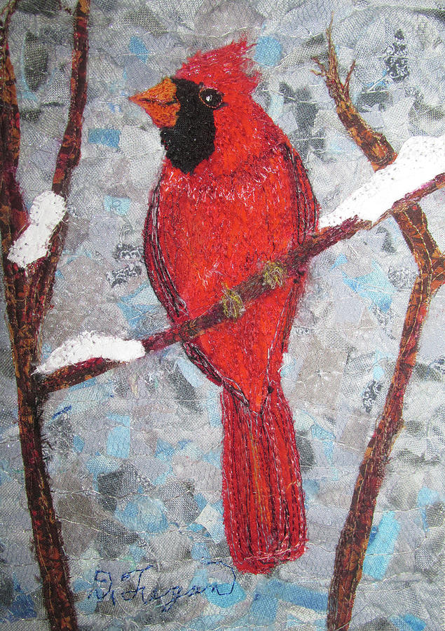 Cardinal Tapestry - Textile - Winter Cardinal by Dolores Fegan