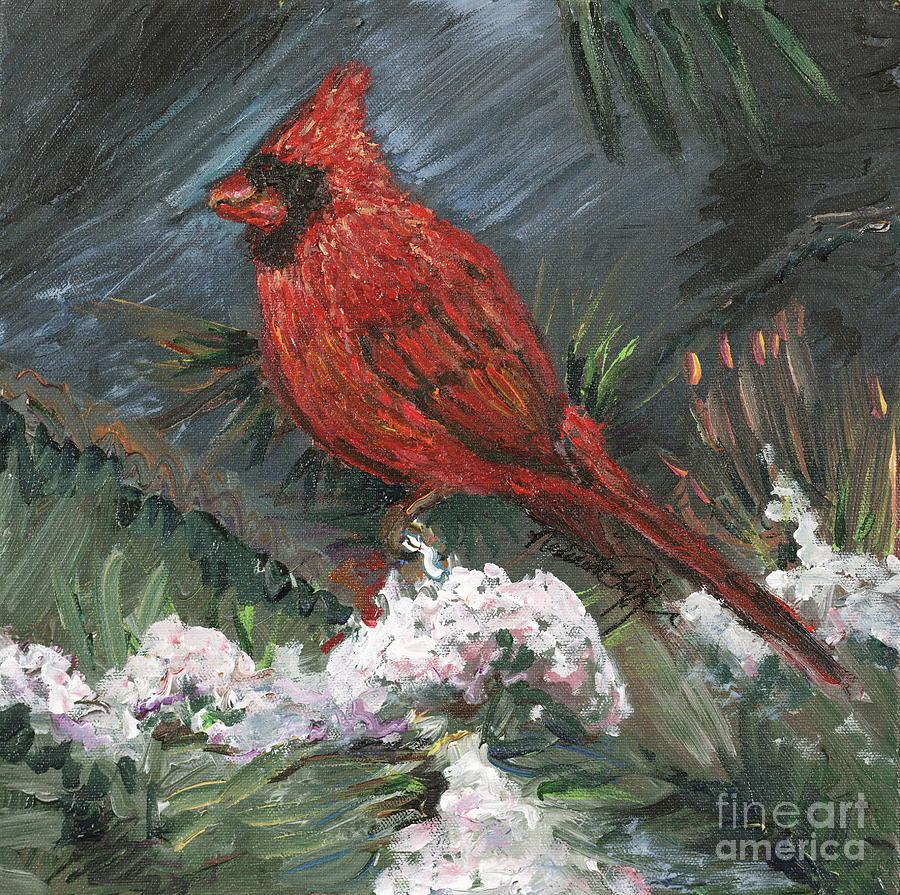 Bird Painting - Winter Cardinal by Nadine Rippelmeyer