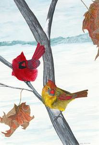 Cardinals Painting - Winter Cardinals by William Gowins