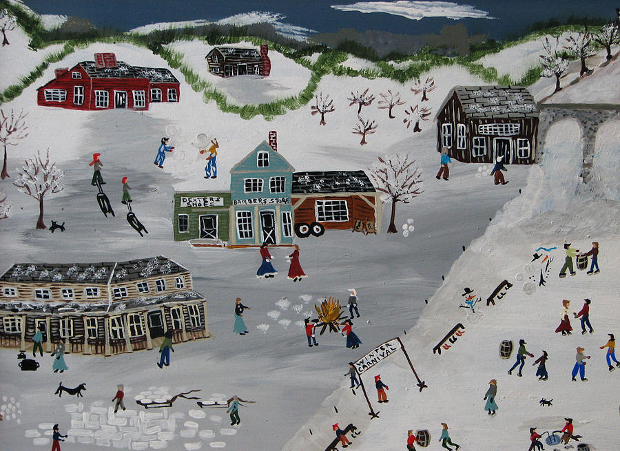 Snow Painting - Winter Carnival by Lee Gray