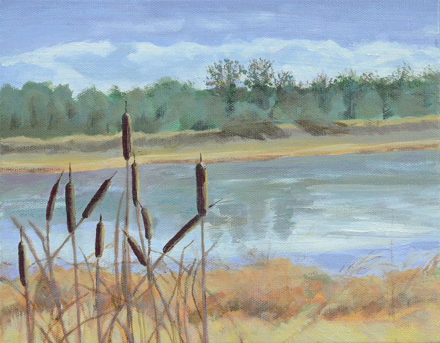 Acrylic Landscape Painting - Winter Cattails by Mary Chant