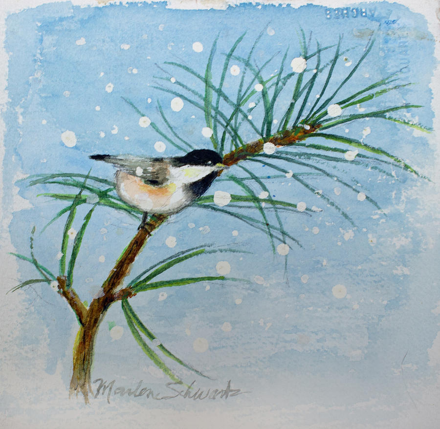 Winter Chickadee by Marlene Schwartz Massey
