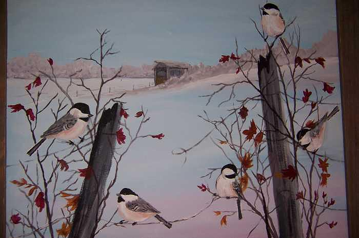 Winter Chickadees Painting by Vivian Esler Trout