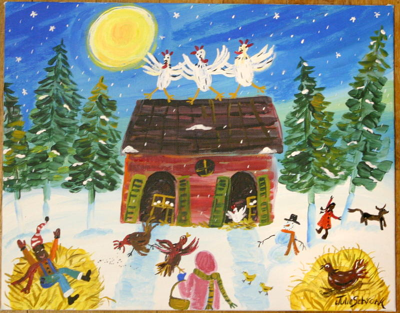 Winter Chickens Painting by Julie Schronk