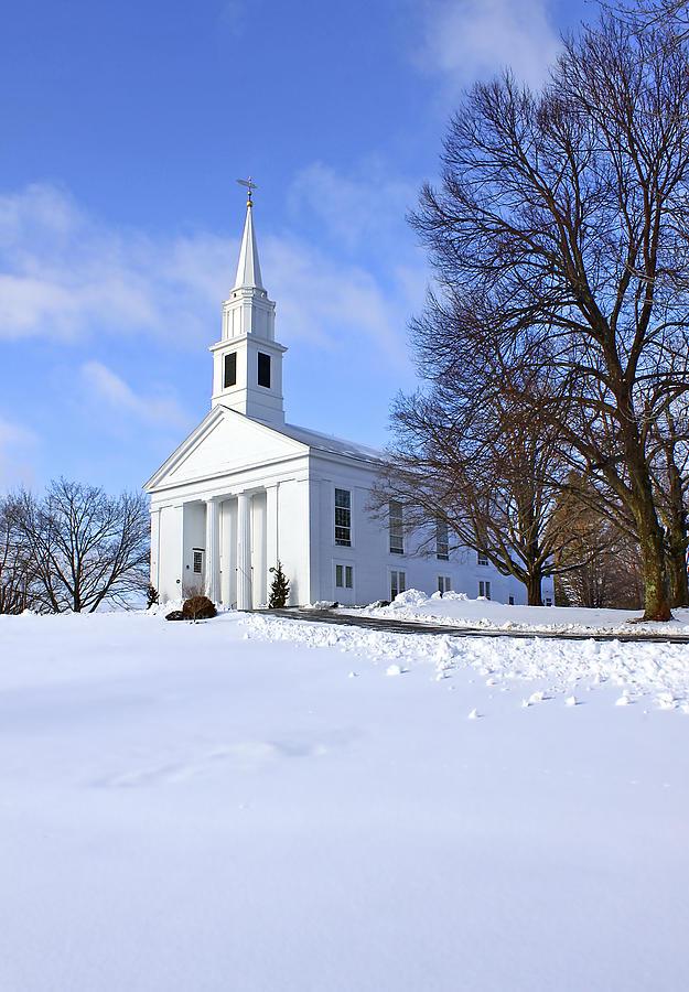 Beautiful Photograph - Winter Church by Evelina Kremsdorf