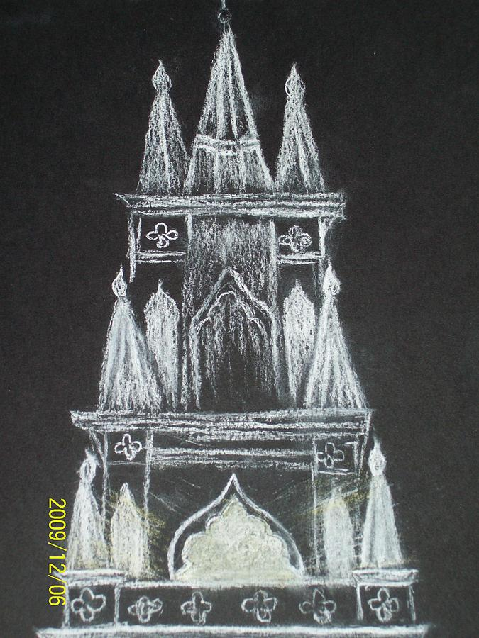 American Gothic Architecture Painting - Winter Church In Bath Maine by Nancy Caccioppo